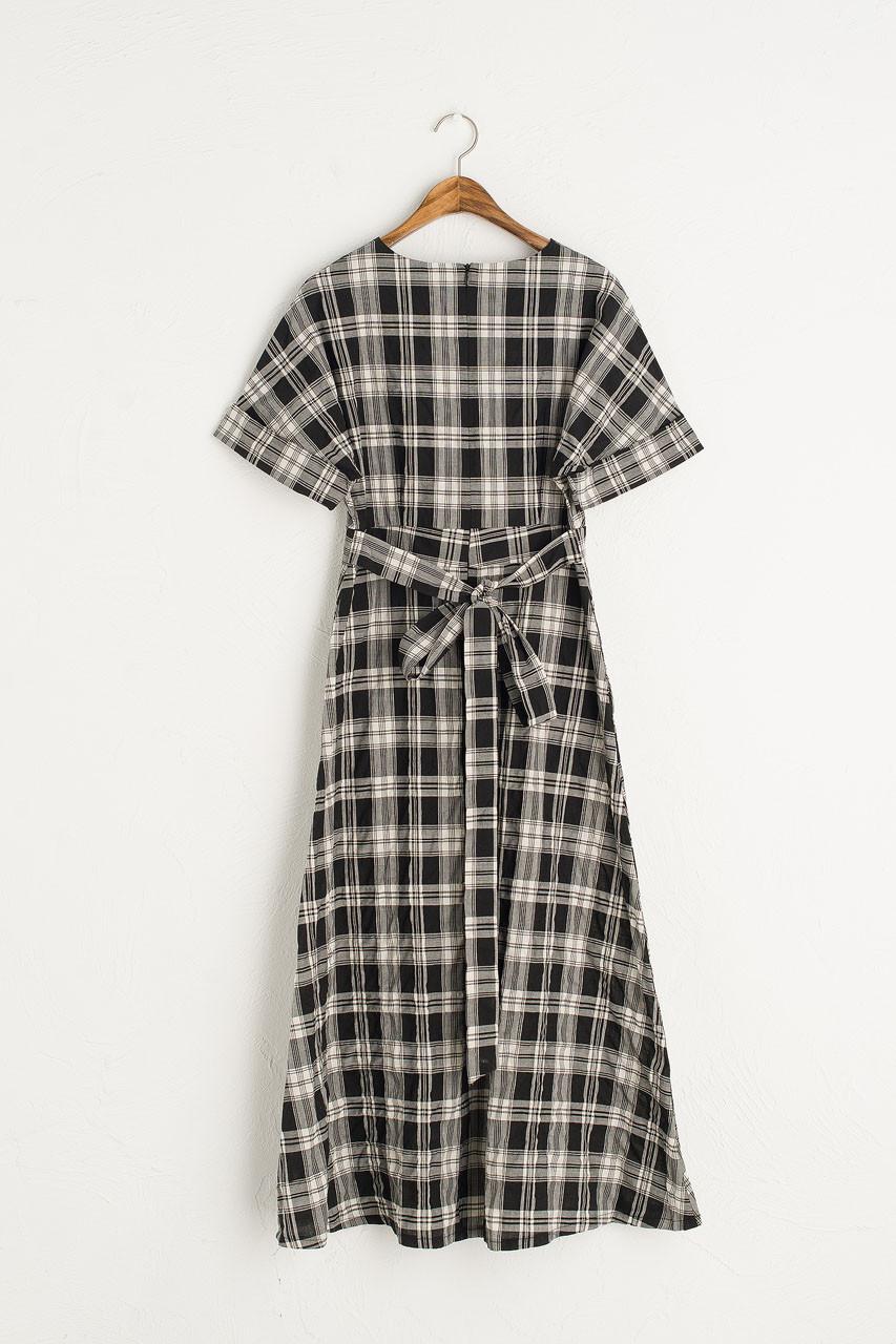 Kimono Check Dress, Black