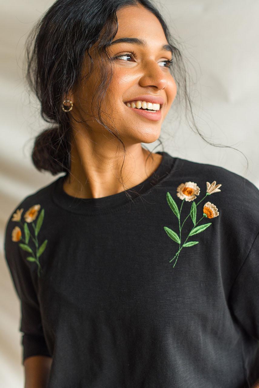 Peony Embroidery Tee, Black