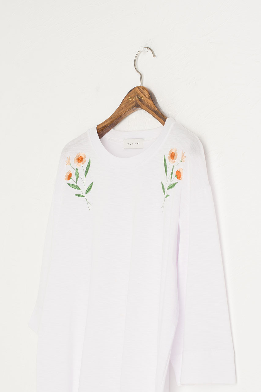 Peony Embroidery Tee, Ivory