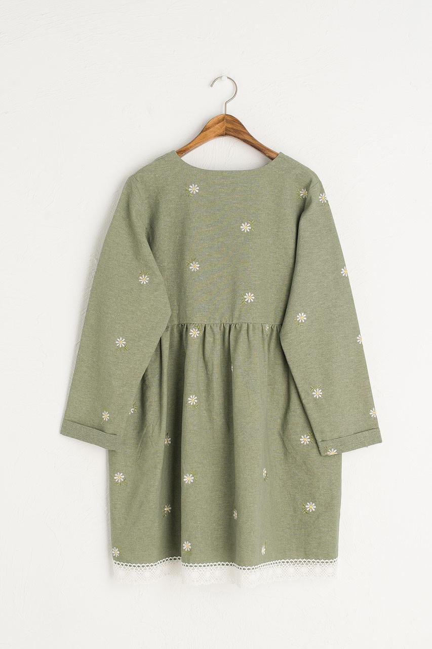 Daisy Embroidered Babydoll Dress, Khaki