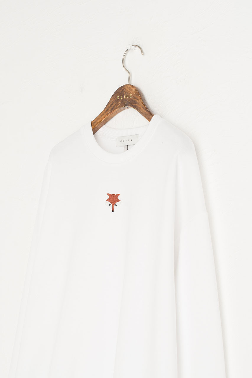 Fox Embroidery Sweatshirt, Ivory