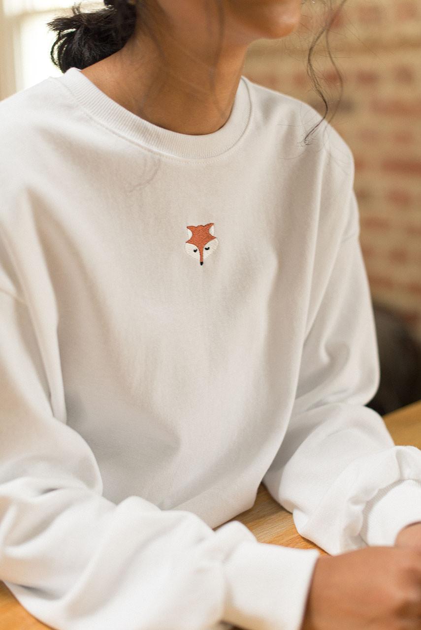 Fox Embroidery Sweatshirt, Ivory
