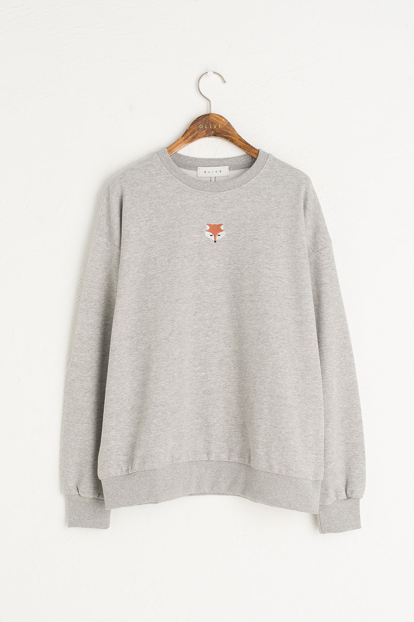 Fox Embroidery Sweatshirt, Grey