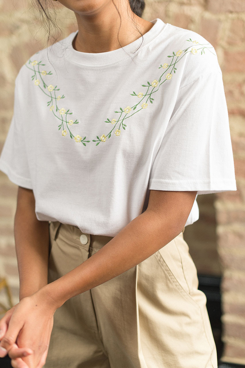 Freesia Vine Embroidery Tee, Ivory