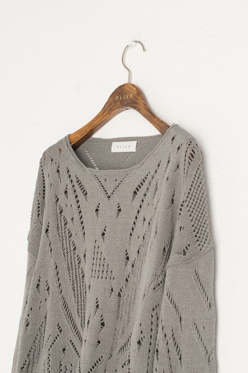 Lip Neck Crochet Jumper, Khaki