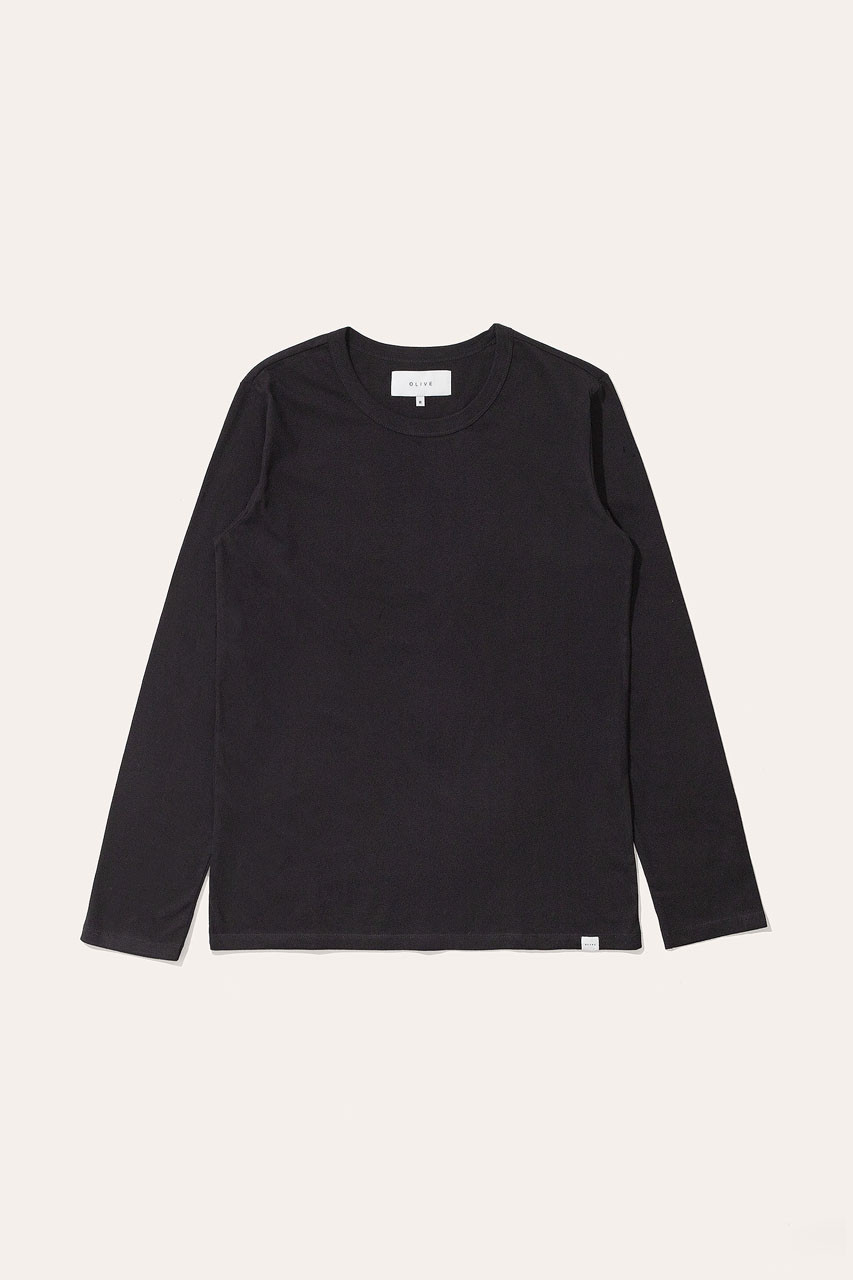 Menswear | Organic Cotton Long Sleeve Tee, Black