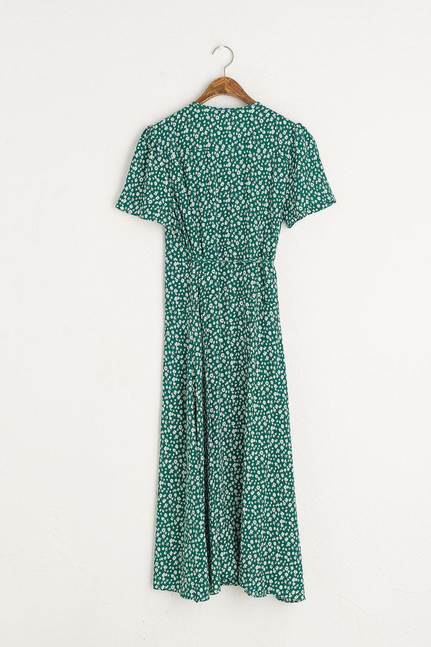 Hanako Flower Wrap Dress, Green