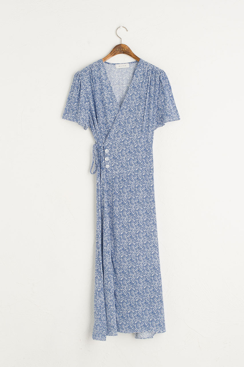 Fara Flower Wrap Dress, Blue