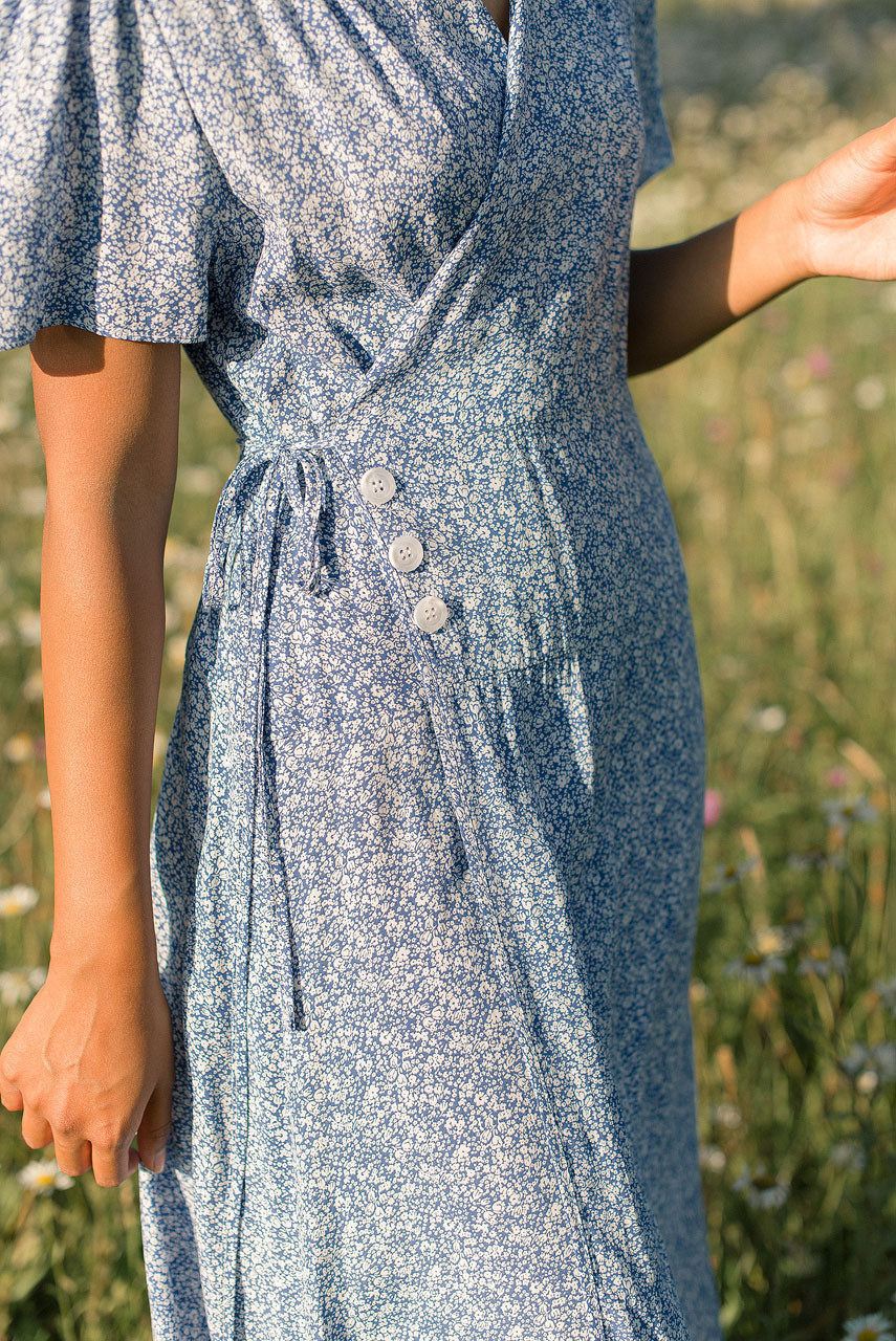 Fara Flower Wrap Dress, Blue