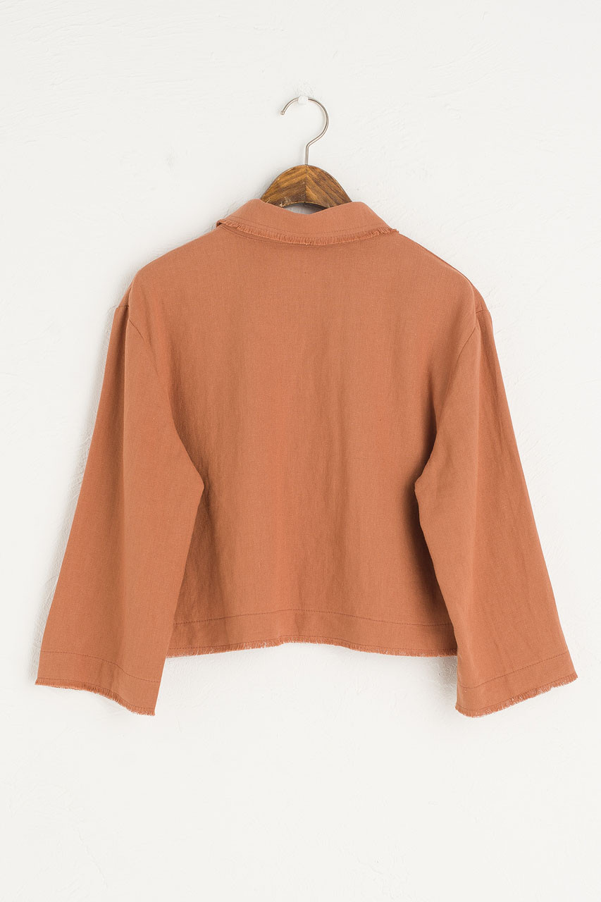 Raw Edge Collar Crop Blouse, Brick