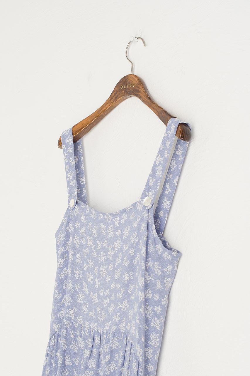 Mono Flower Dungaree Dress, Blue