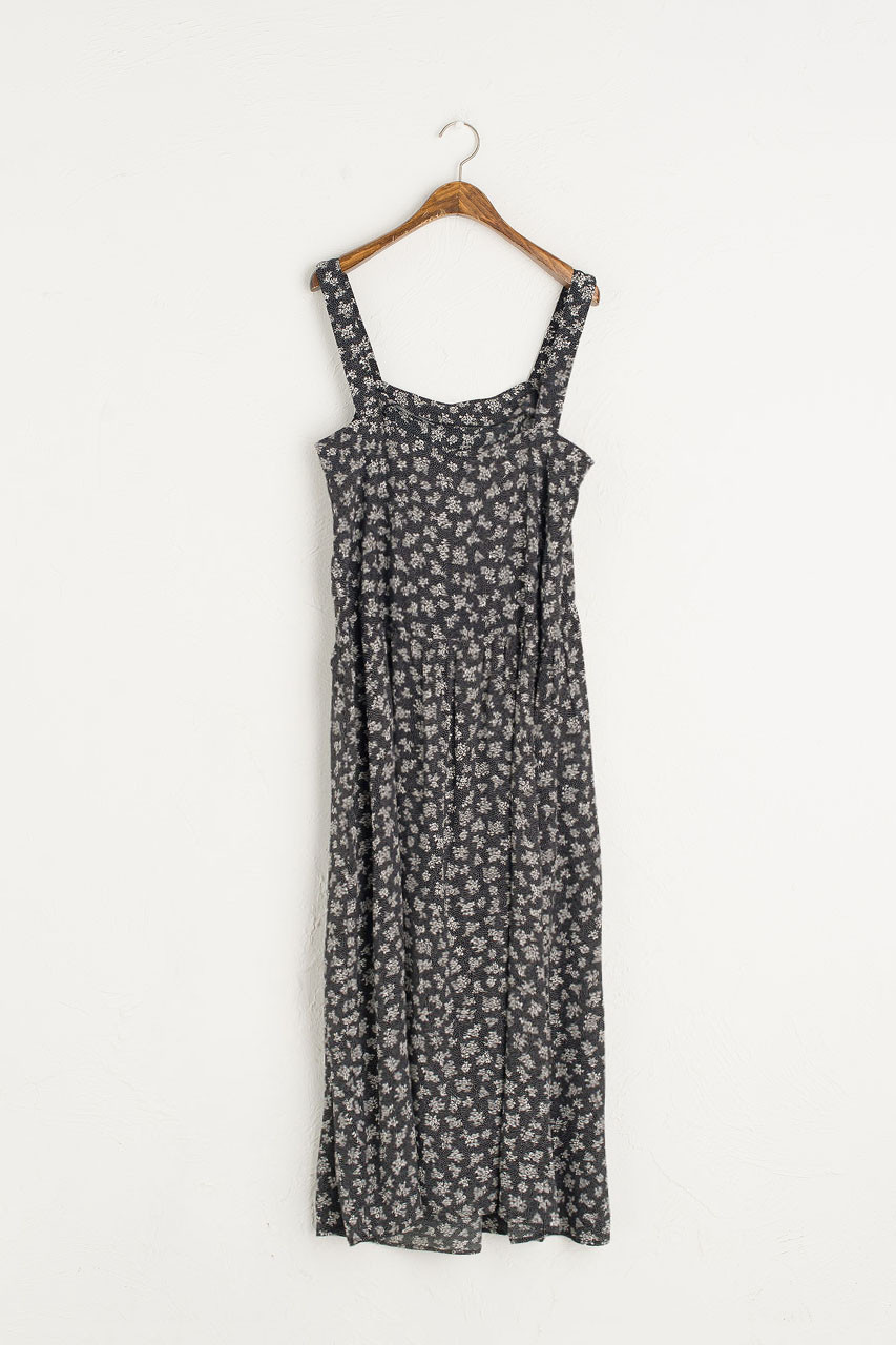 Mono Flower Dungaree Dress, Black