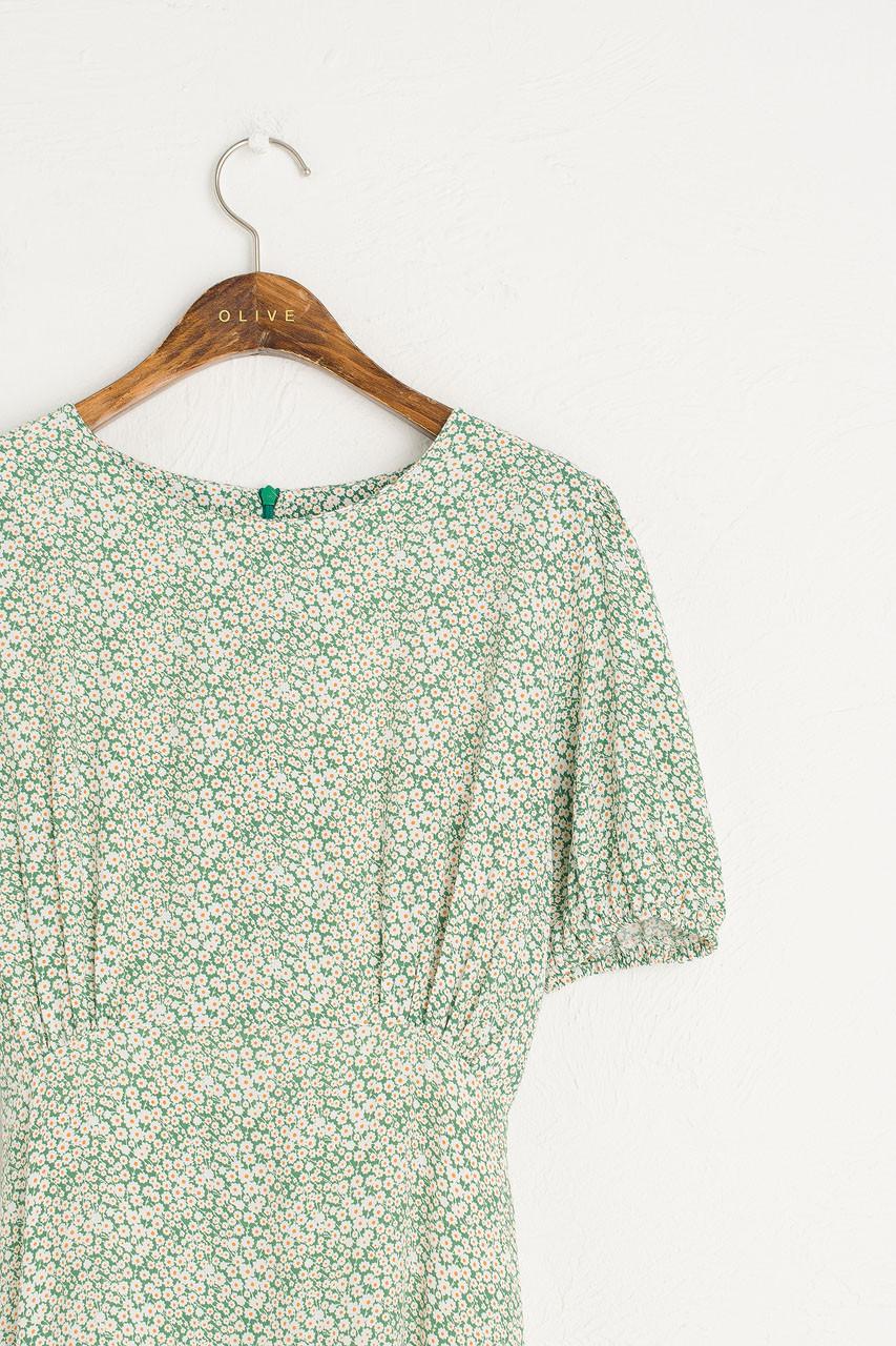 Daisy Print Babydoll Dress, Green