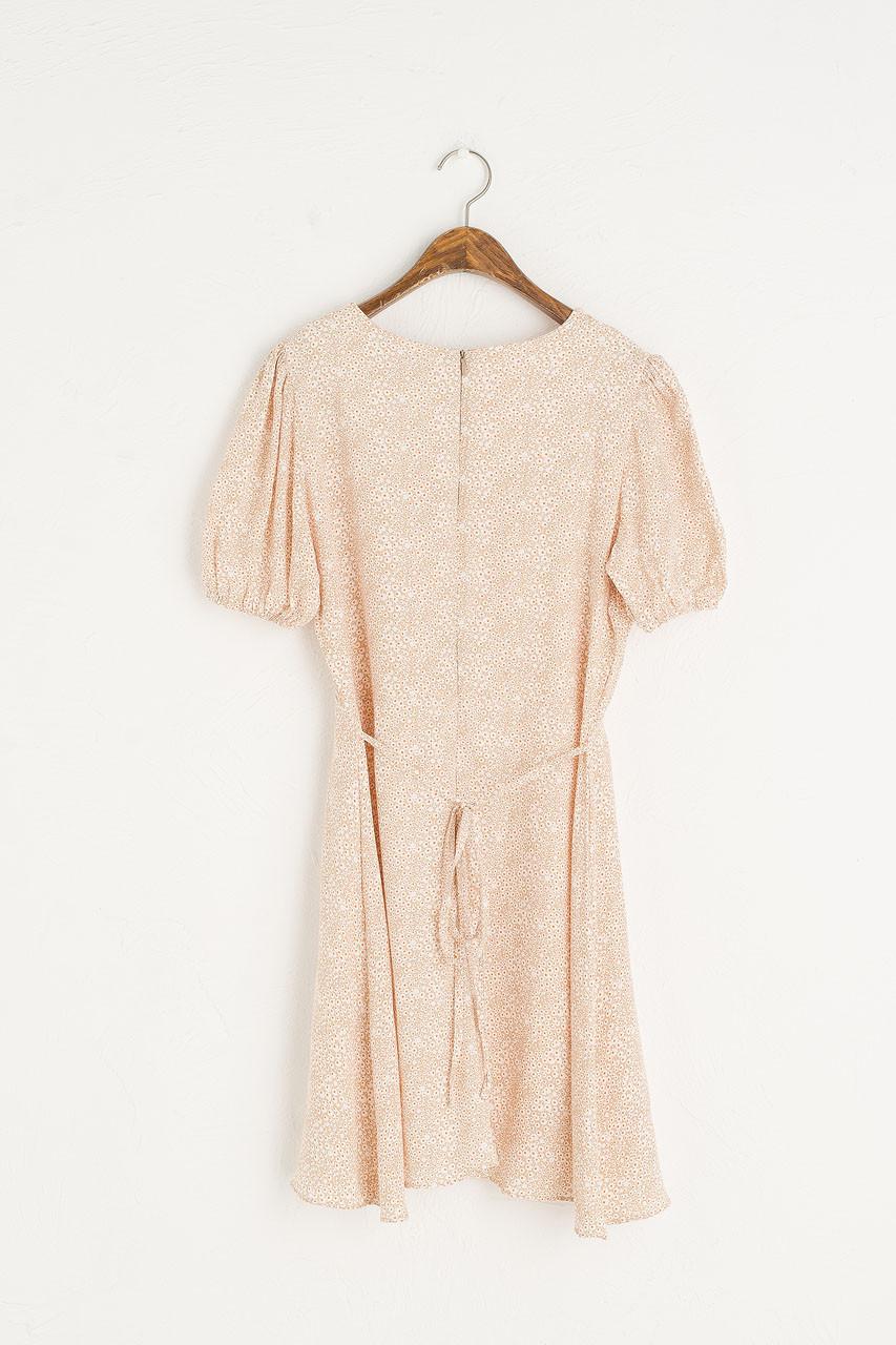 Daisy Print Babydoll Dress, Beige