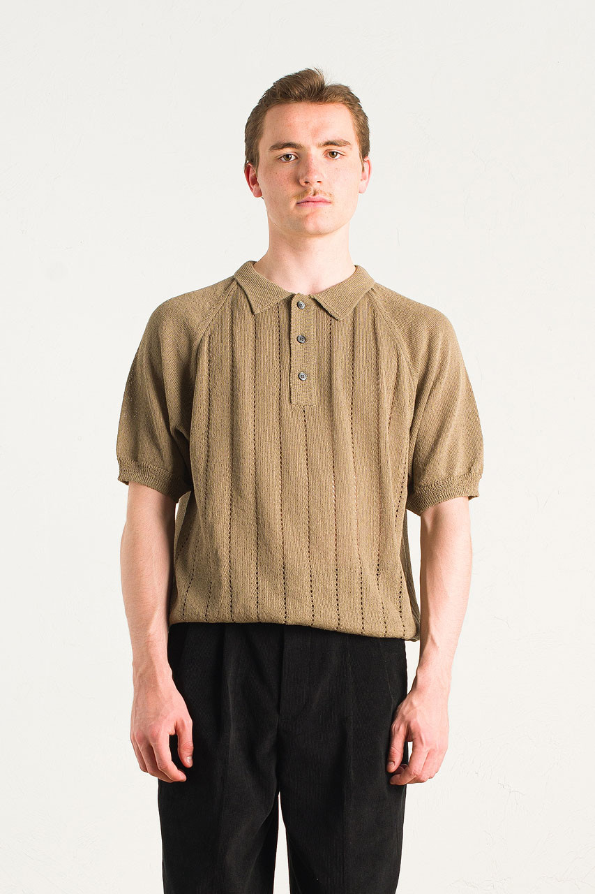 Menswear | Linen Polo Knit, Olive Drab