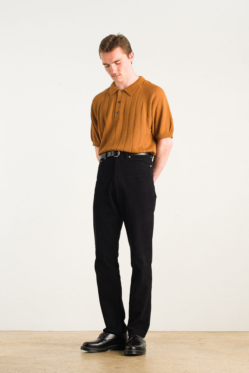 Menswear | Linen Polo Knit, Cinnamon
