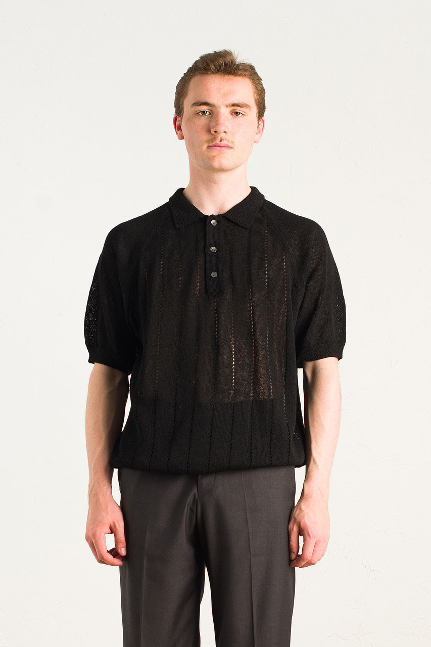 Menswear | Linen Polo Knit, Black