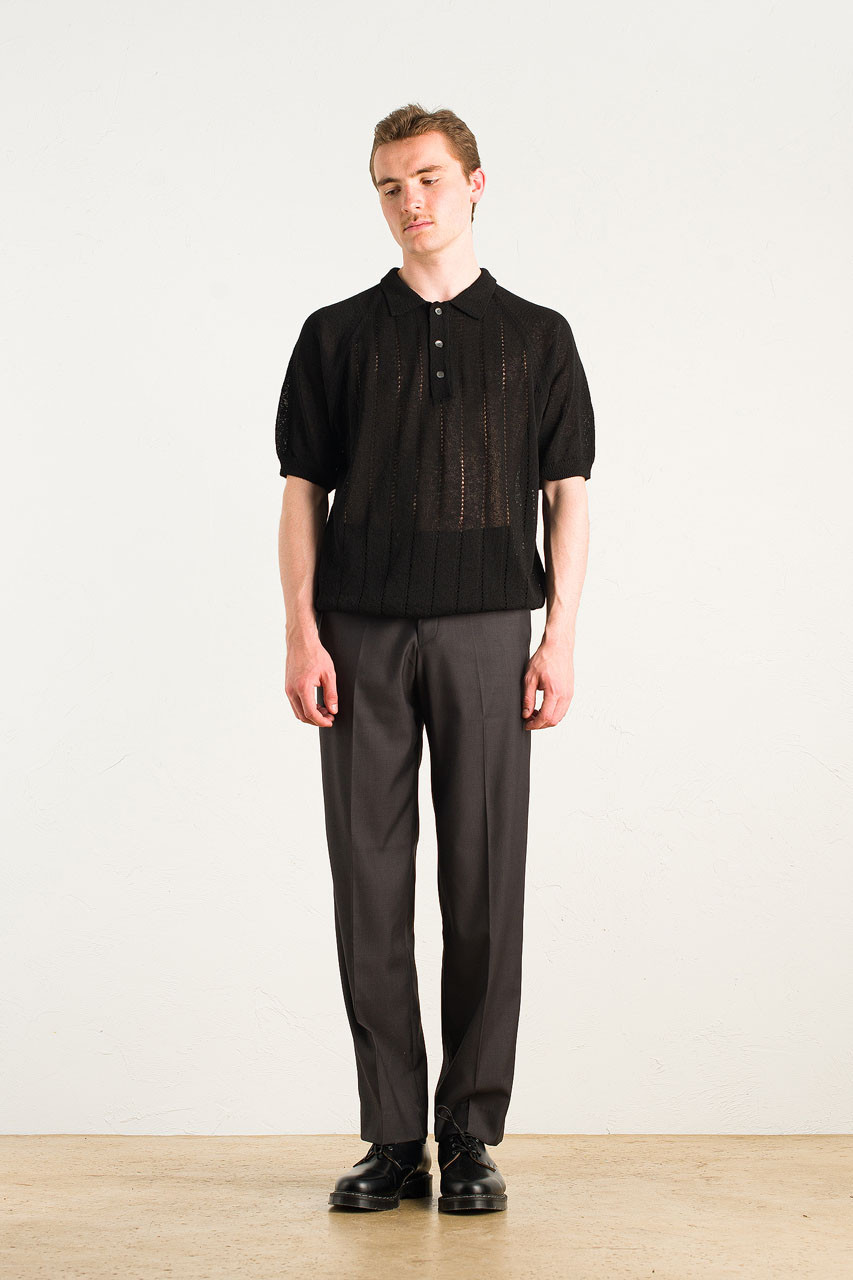 Menswear | Linen Polo Knit, Black