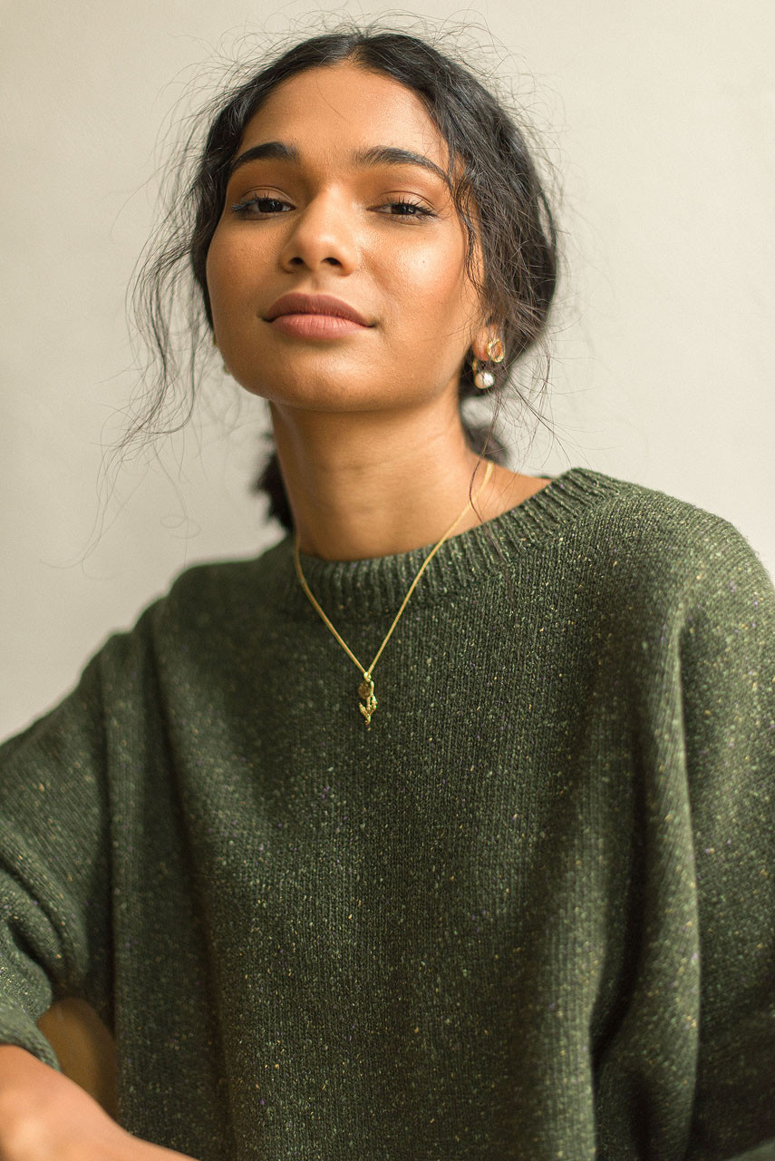 Boucle Round Neck Jumper, Green