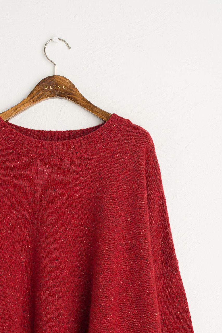 Boucle Round Neck Jumper, Mix Wine