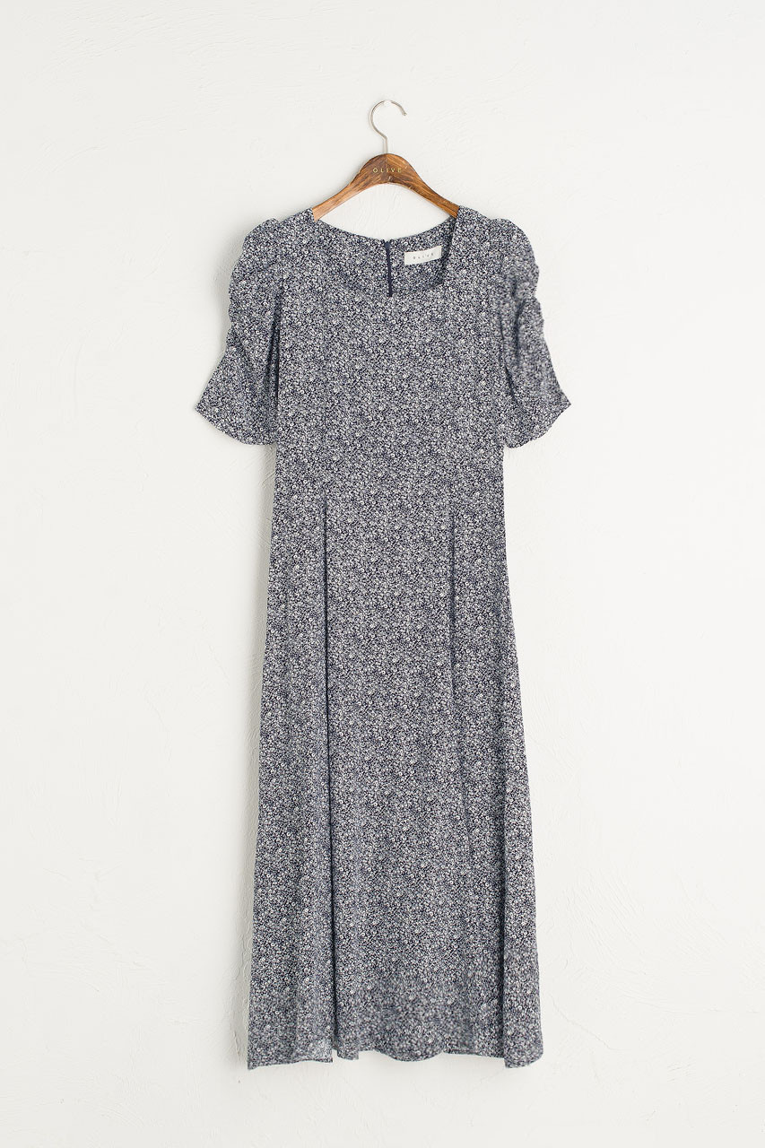 Celinde Printed Dress, Navy