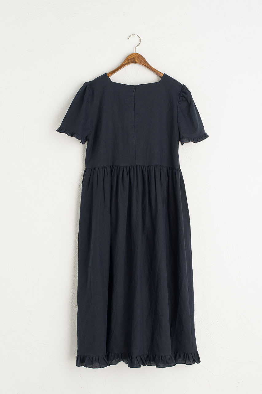Frilled Hem Babydoll Dress, Navy