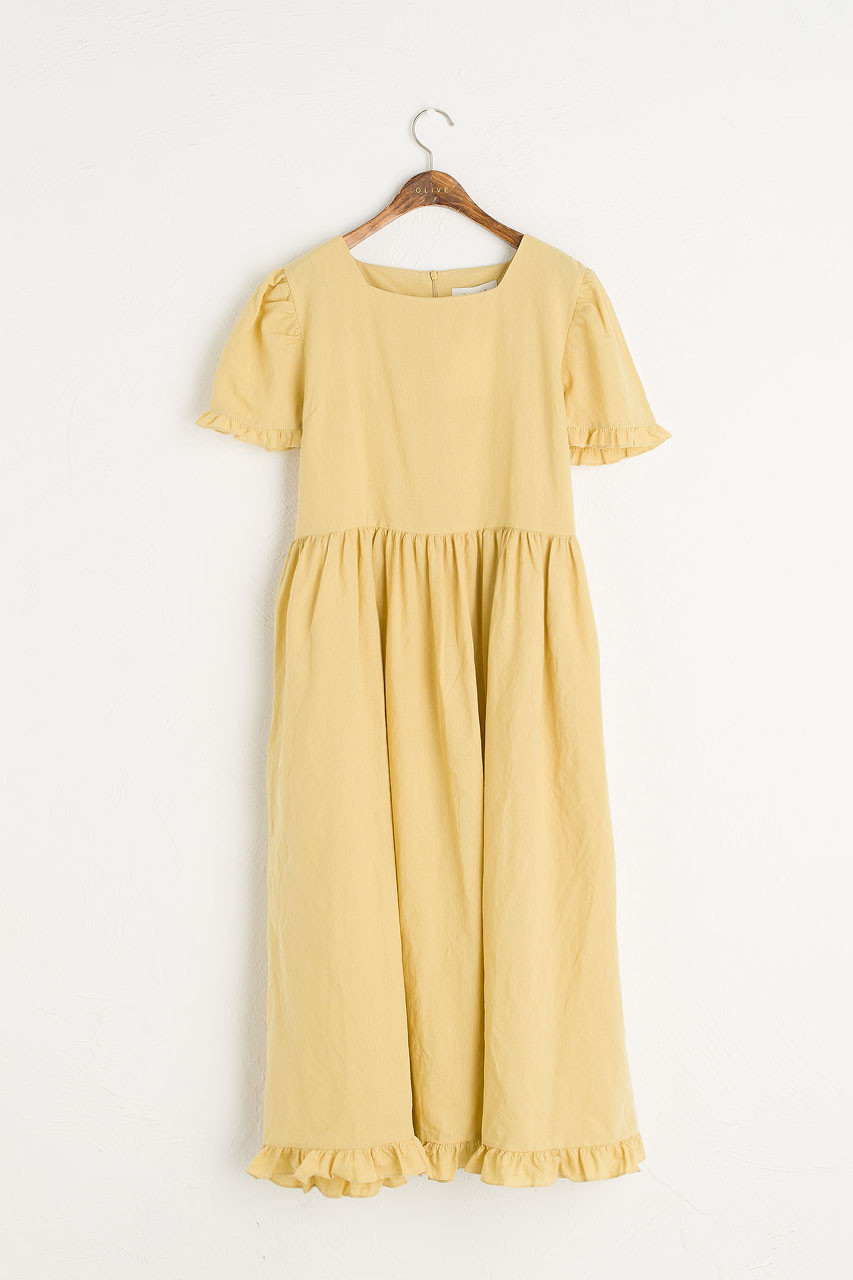 Frilled Hem Babydoll Dress, Mustard