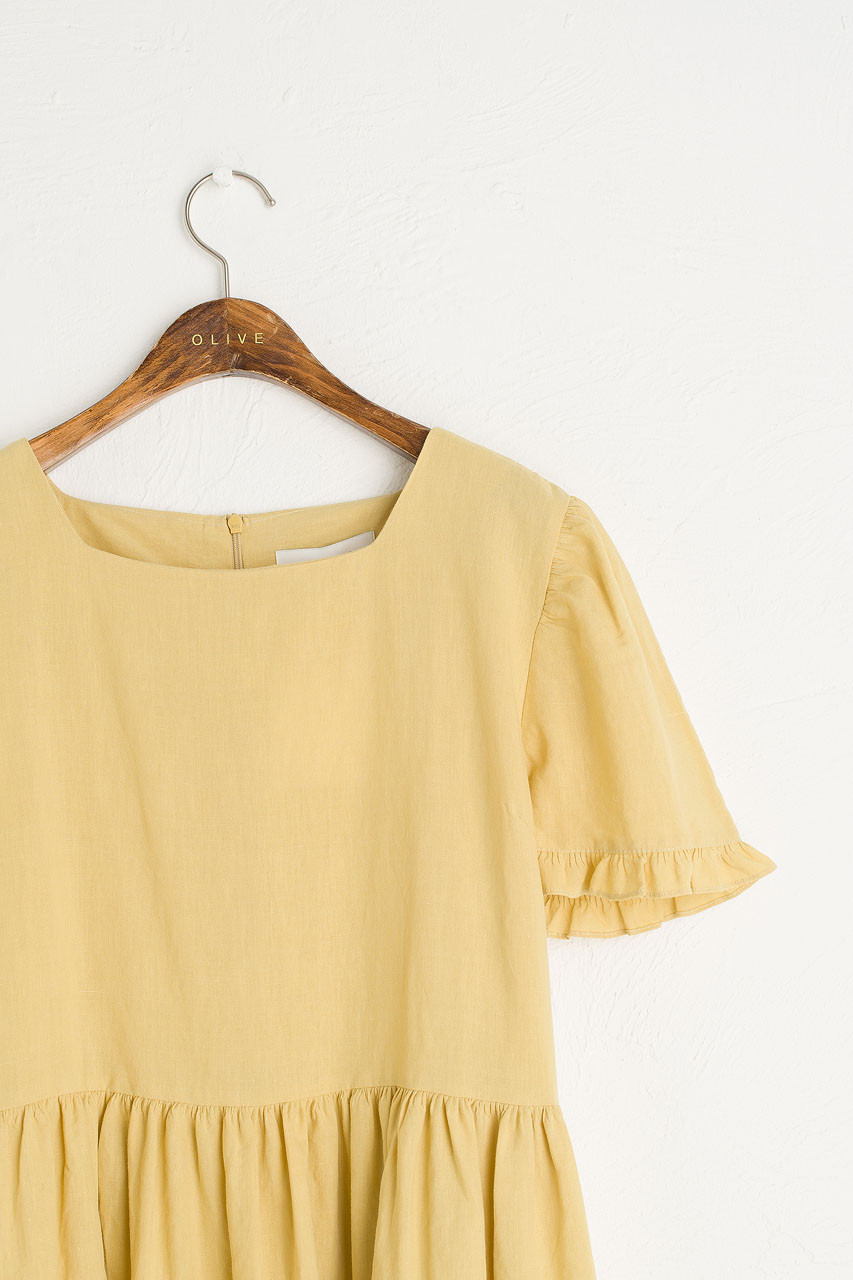 Frilled Hem Babydoll Dress, Mustard