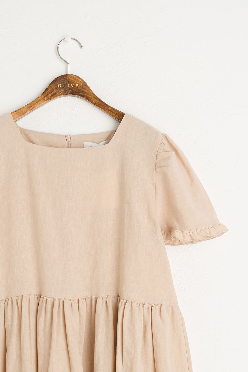 Frilled Hem Babydoll Dress, Beige