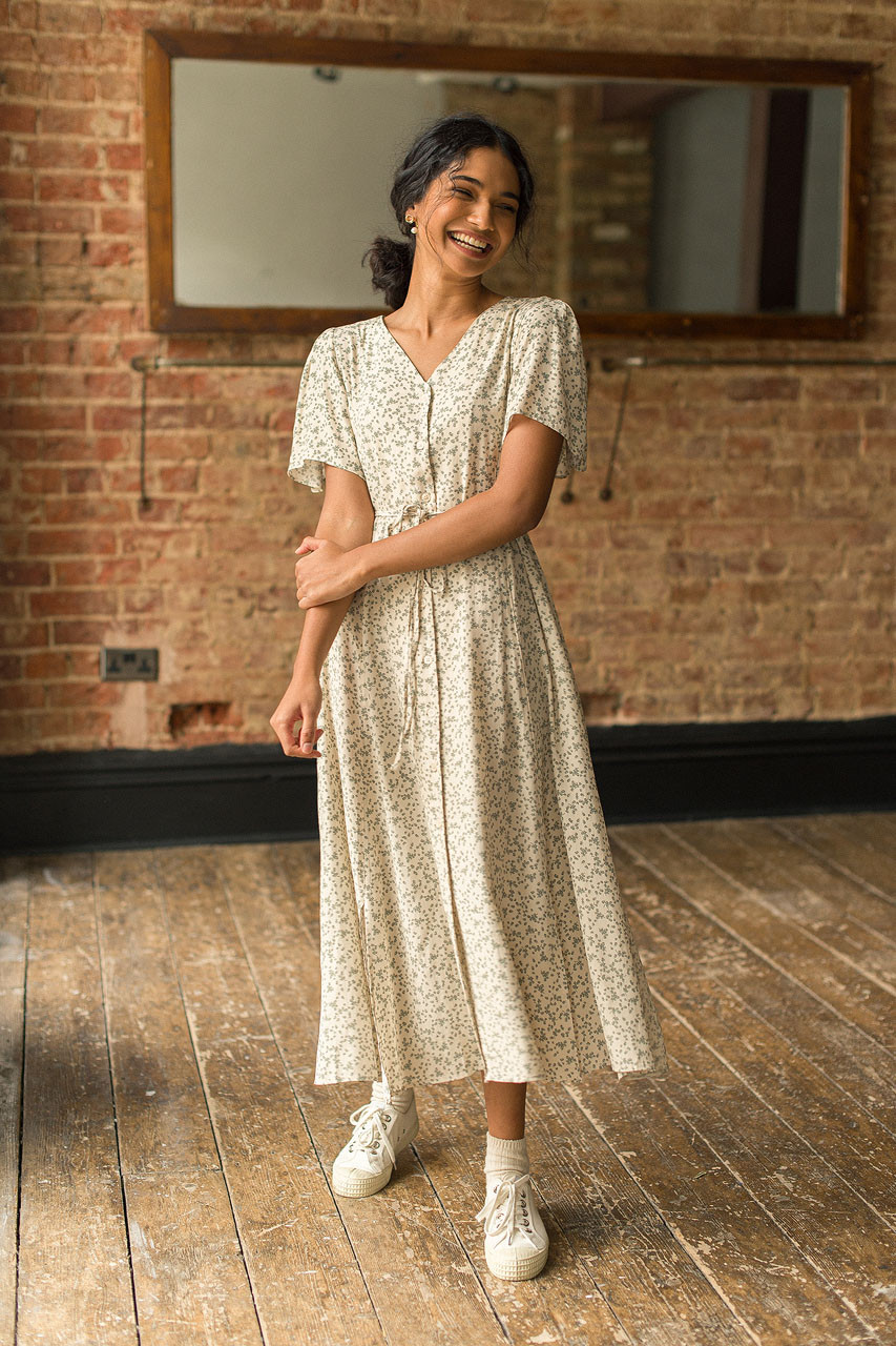Christy Printed Dress, Khaki