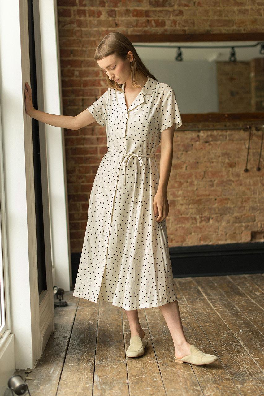 Dana Dotty Shirt Dress, Ivory