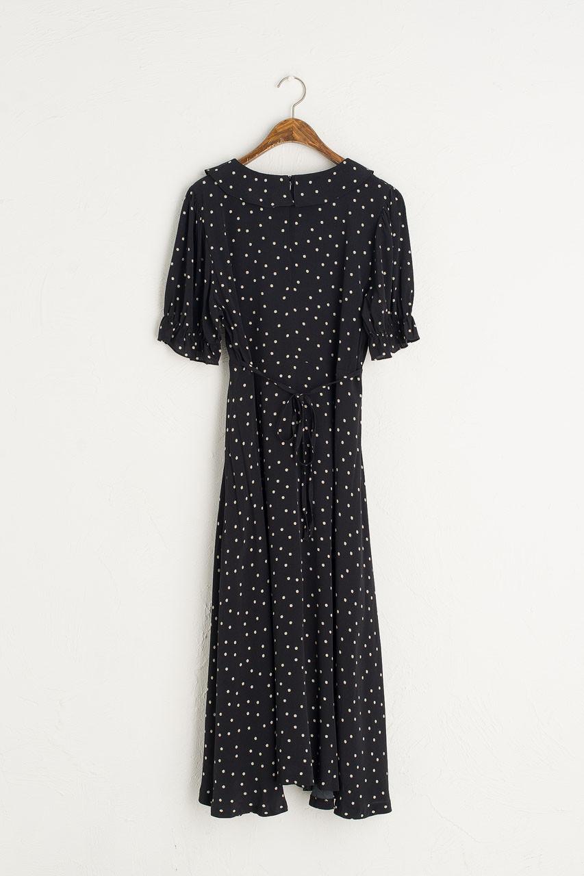 Abigail Frill Neck Dress, Black