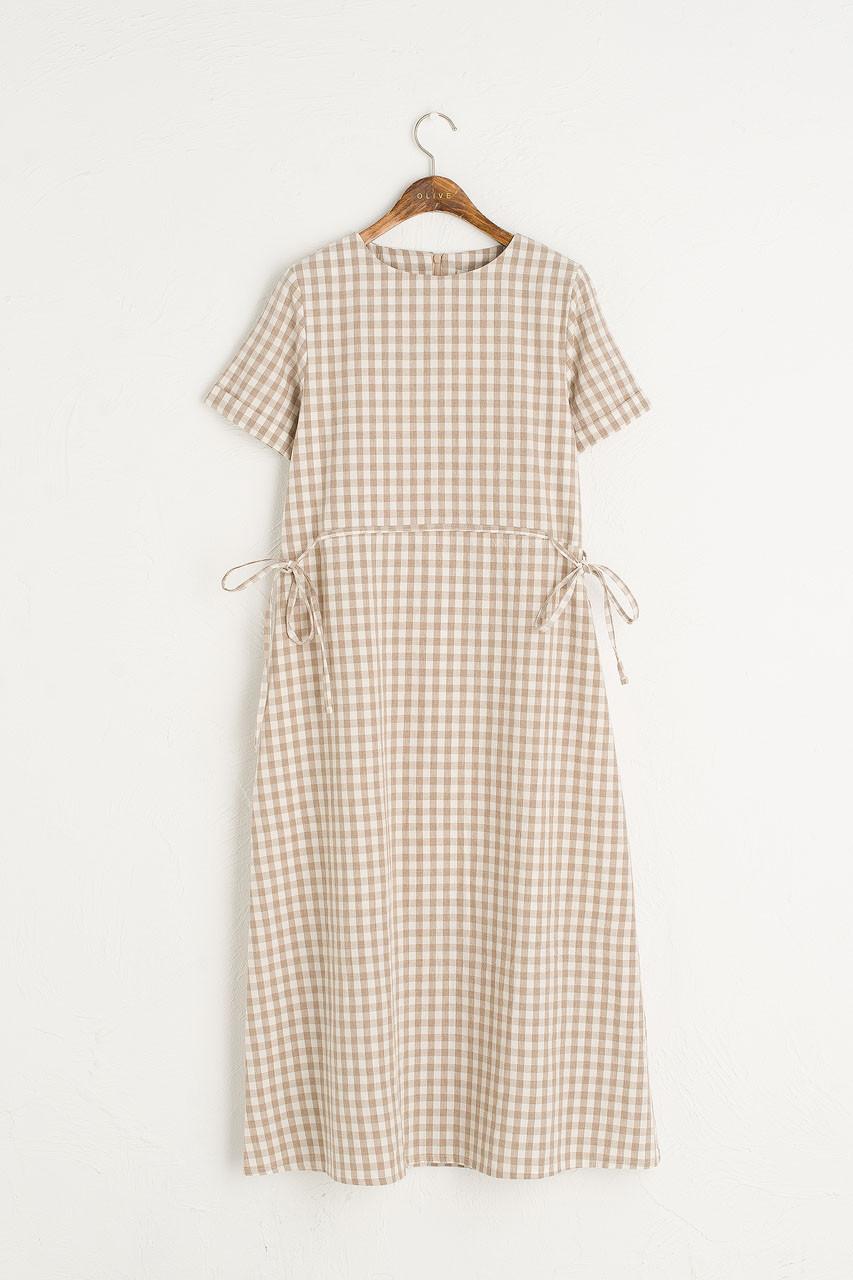 Sophie Gingham Dress, Beige