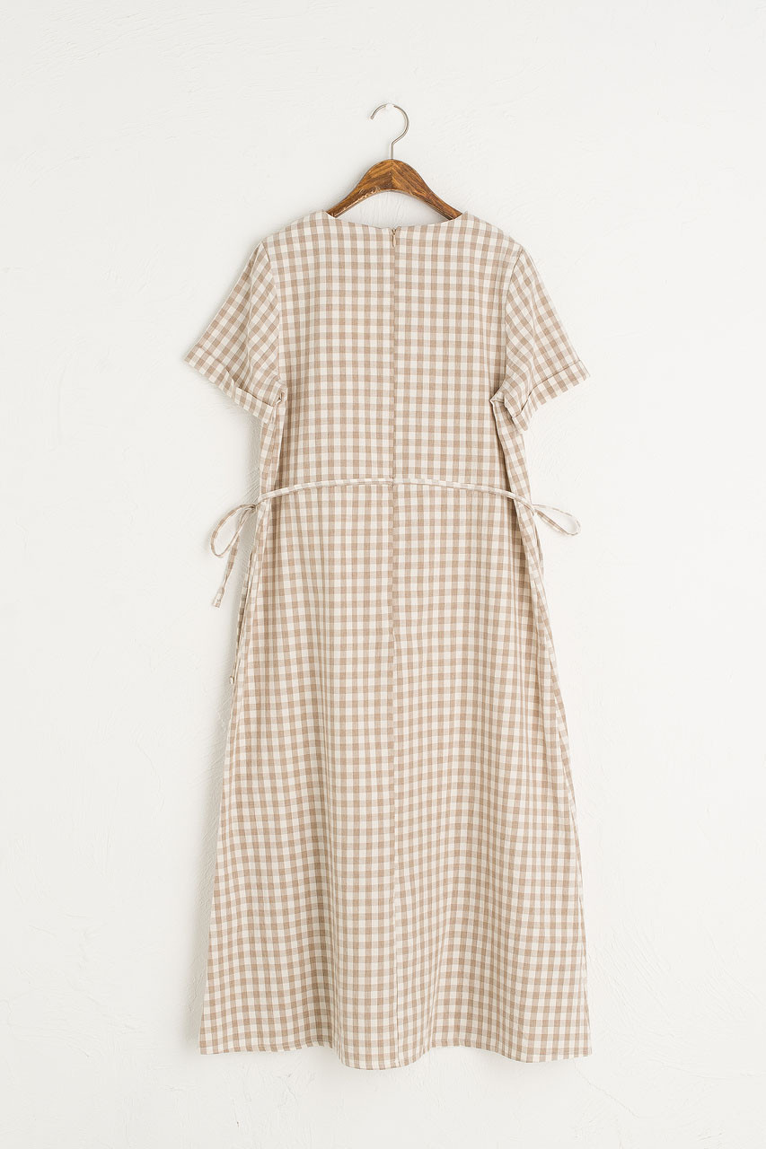 Sophie Gingham Dress, Beige