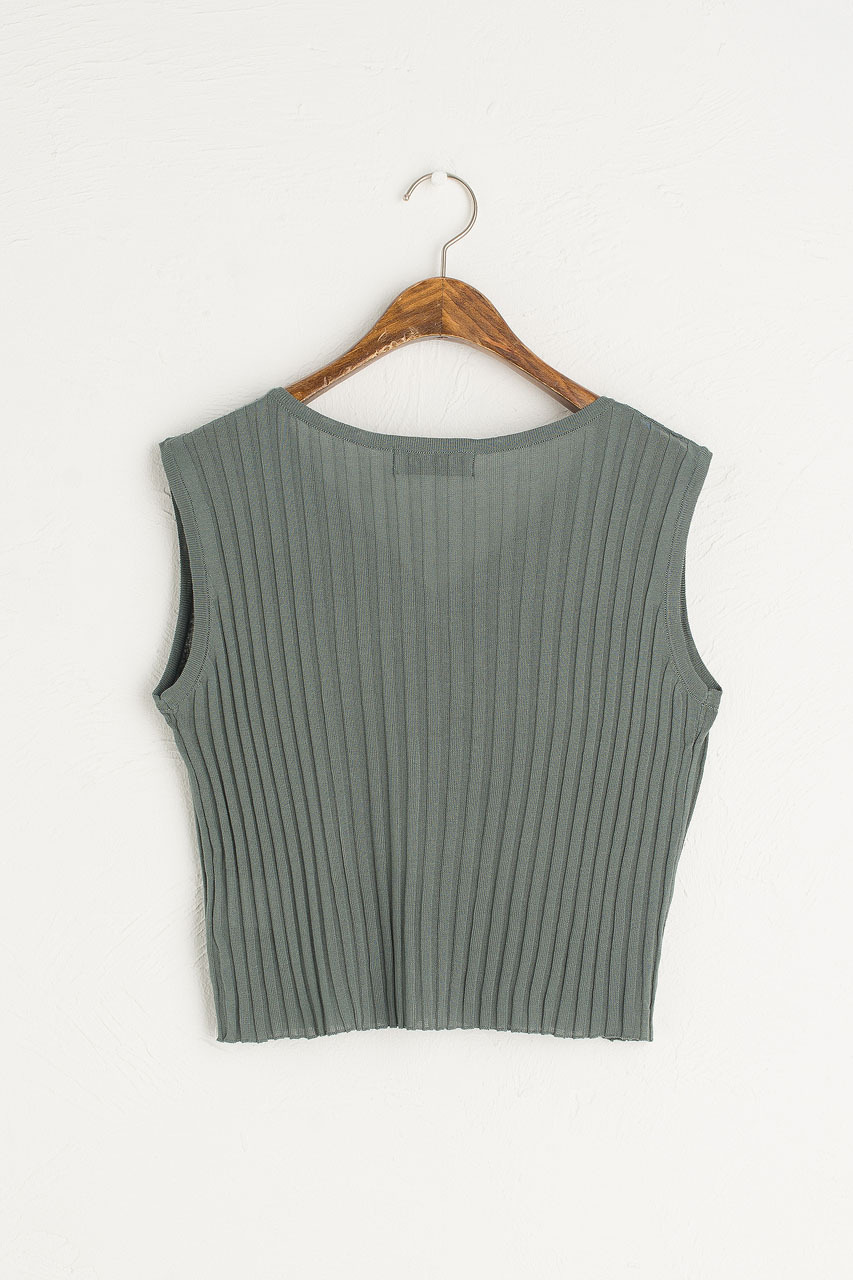 Ribbed Sleeveless Vest, Mint