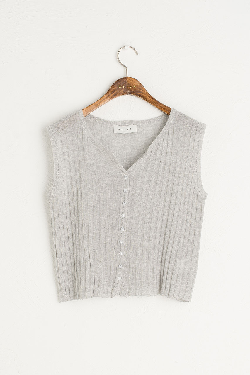 Ribbed Sleeveless Vest, Melange Grey