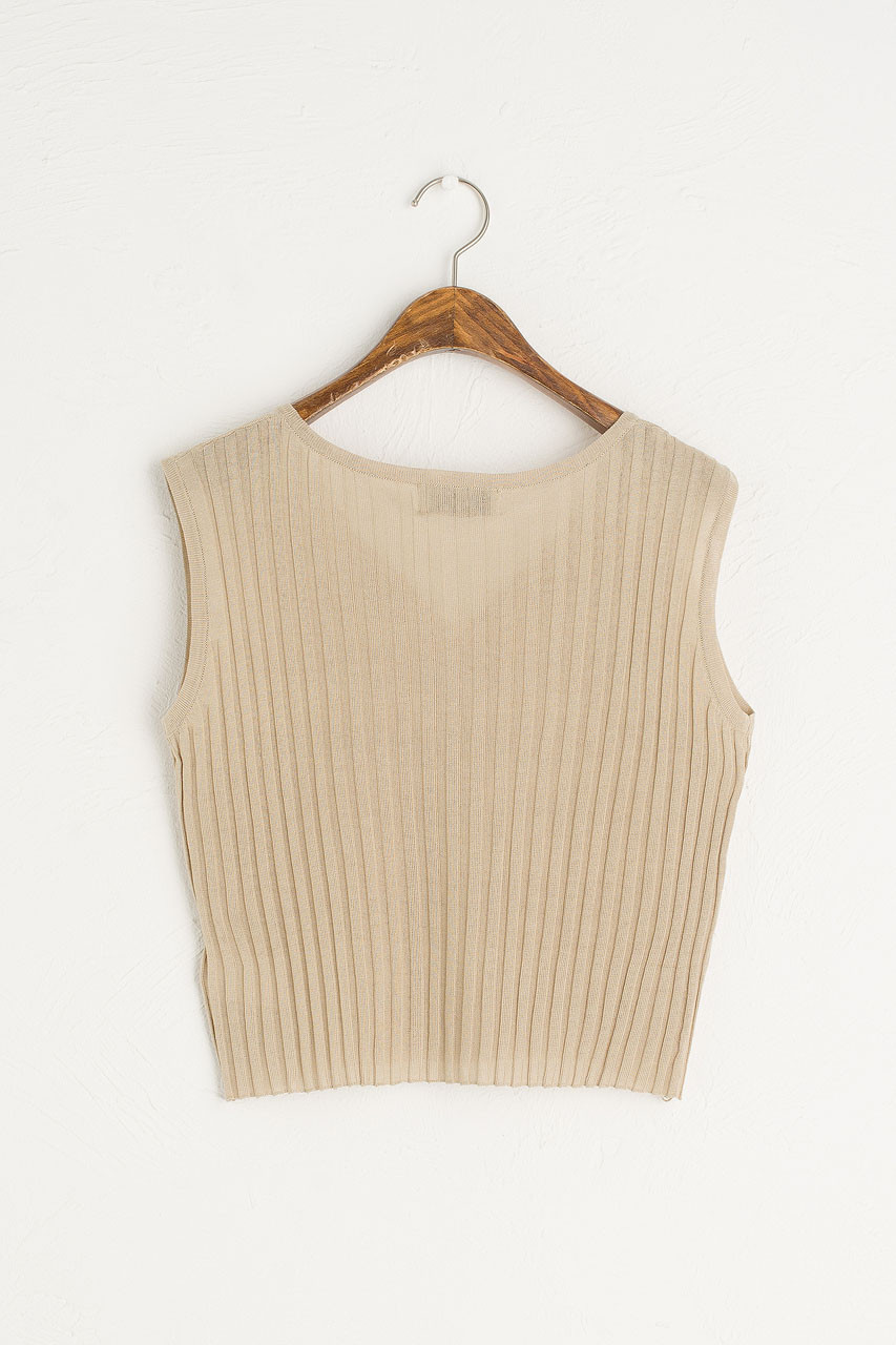 Ribbed Sleeveless Vest, Oatmeal