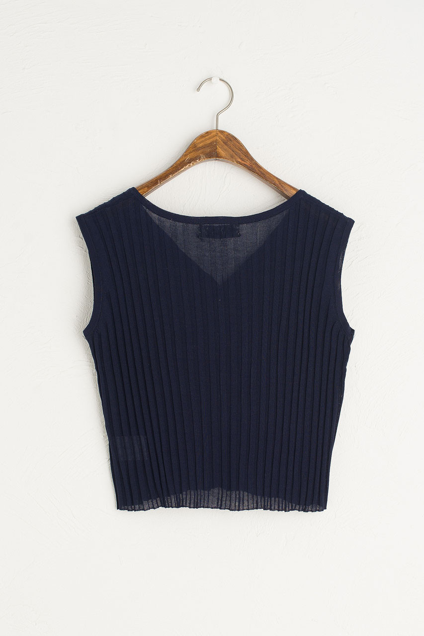 Ribbed Sleeveless Vest, Navy