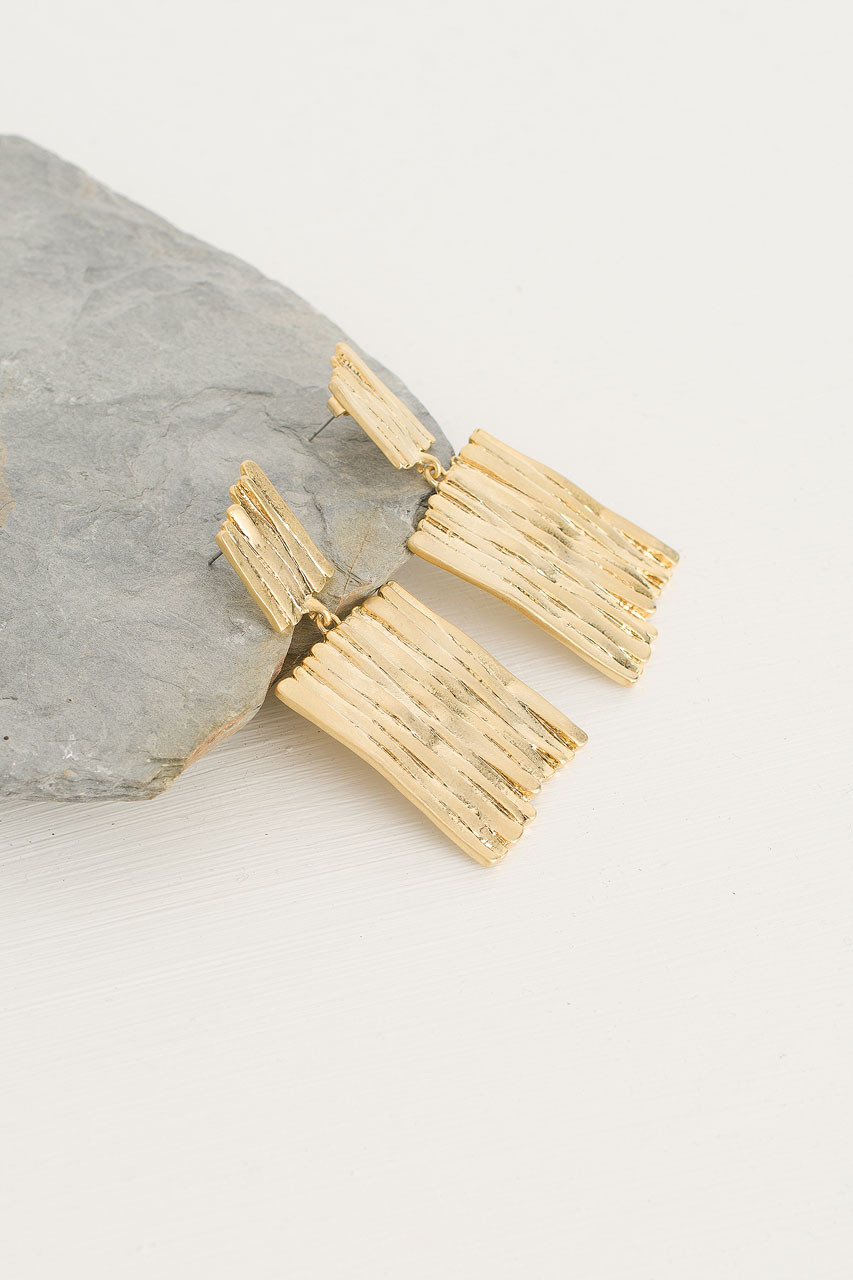 Square Abstract Earrings, Gold Plated