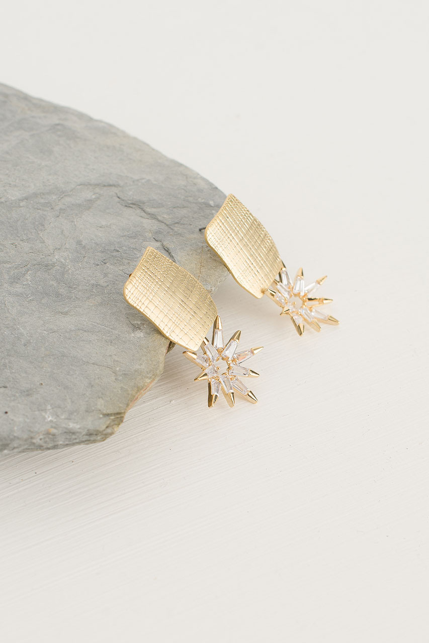 Sun Drop Earrings, Gold Plated