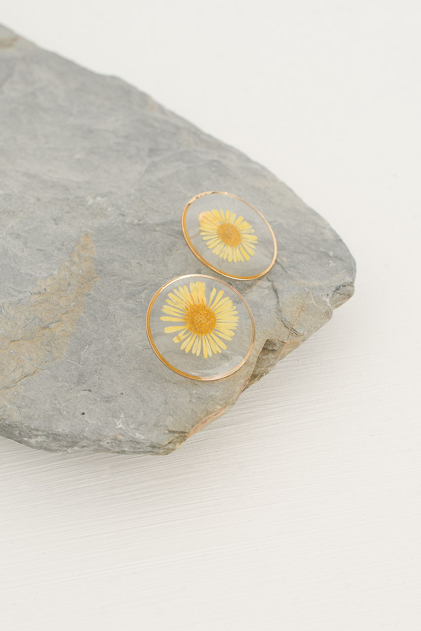 Daisy Flower Press Studs, Yellow/Gold Plated