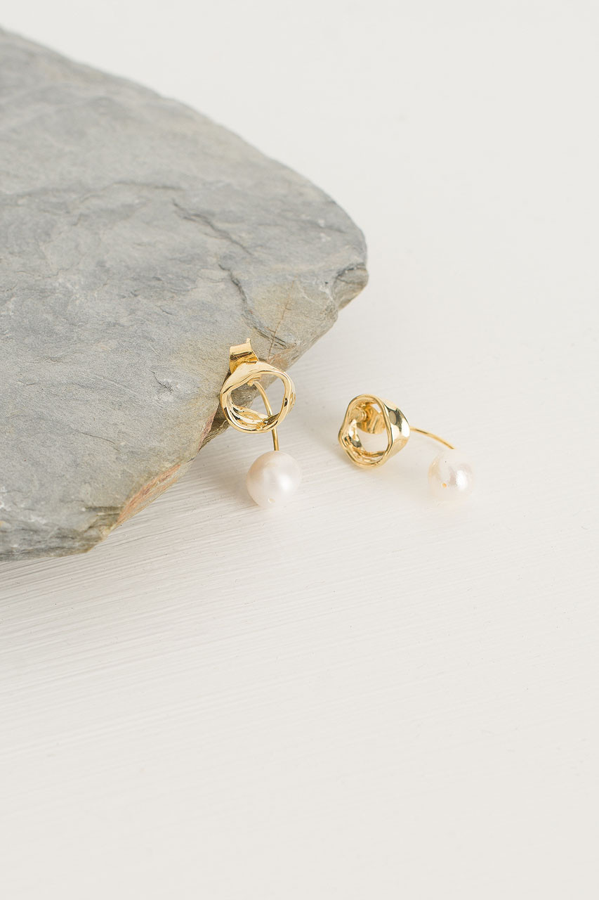 Sally Pearl Earrings, Gold Plated