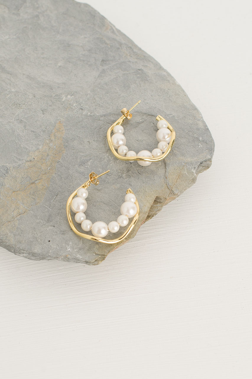 Evie Pearl Earrings, Gold Plated