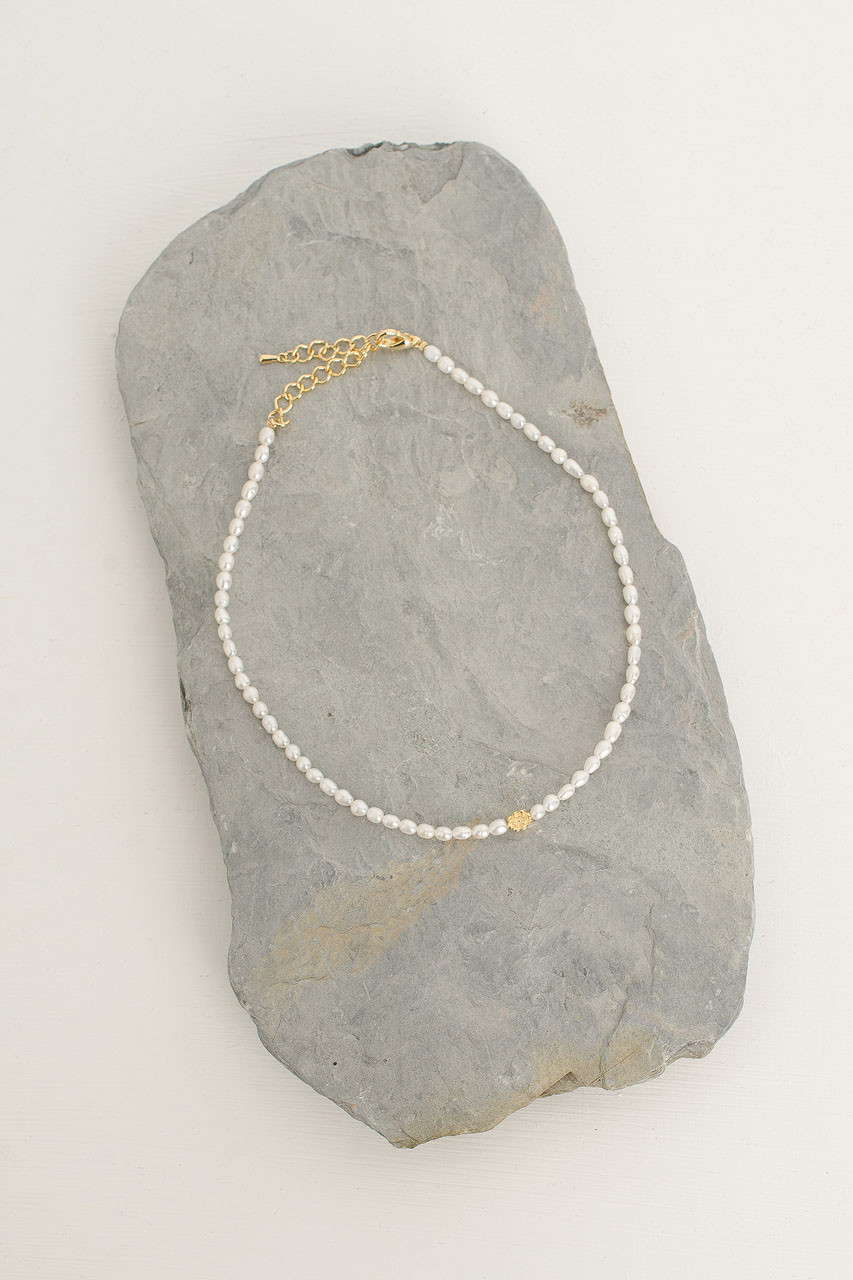 Mini Pearl Chocker Necklace, Pearl/Gold Plated