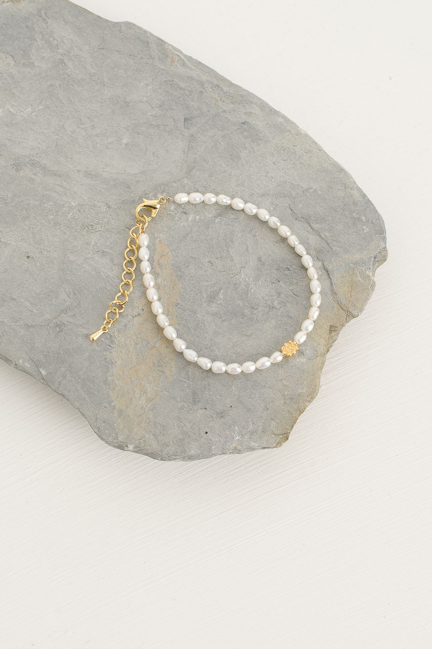 Mini Pearl Bracelet, Pearl/Gold Plated