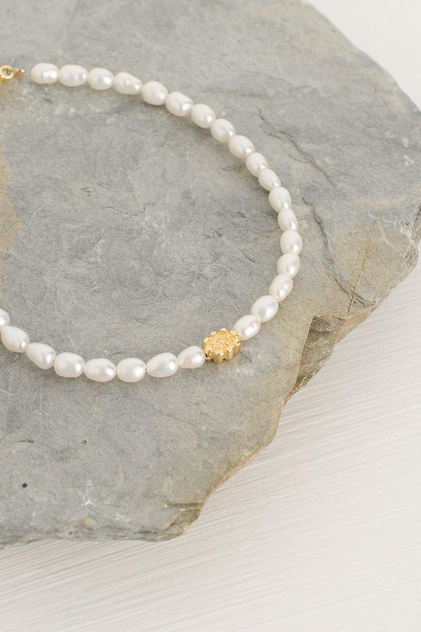 Mini Pearl Bracelet, Pearl/Gold Plated