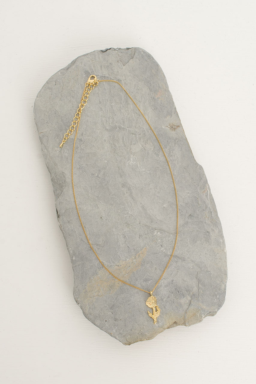 Wildflower Drop Necklace, Gold Plated