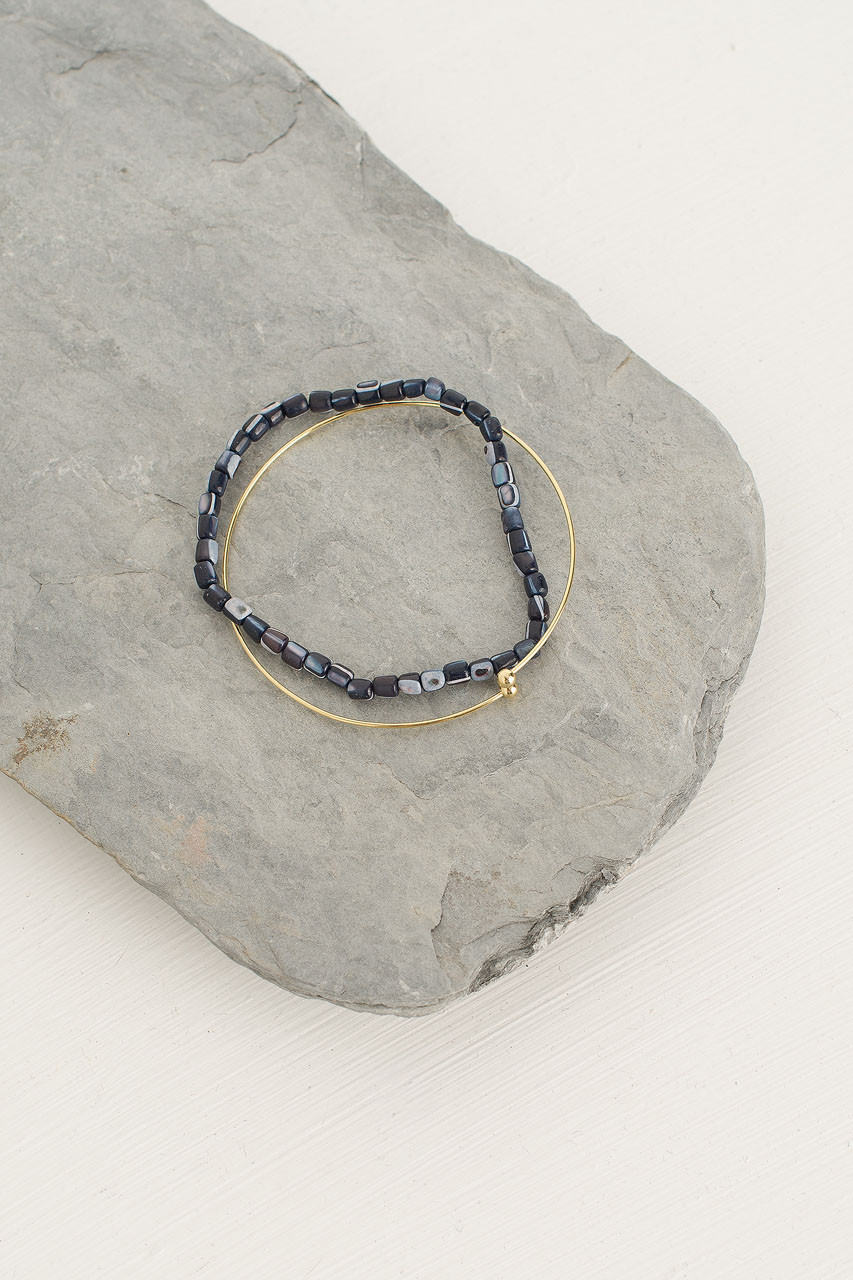 Helen Bracelet Set, Navy/Gold Plated