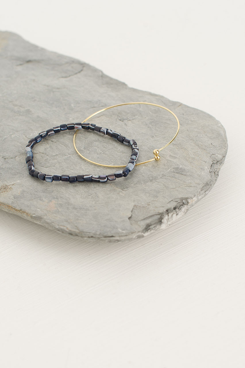 Helen Bracelet Set, Navy/Gold Plated