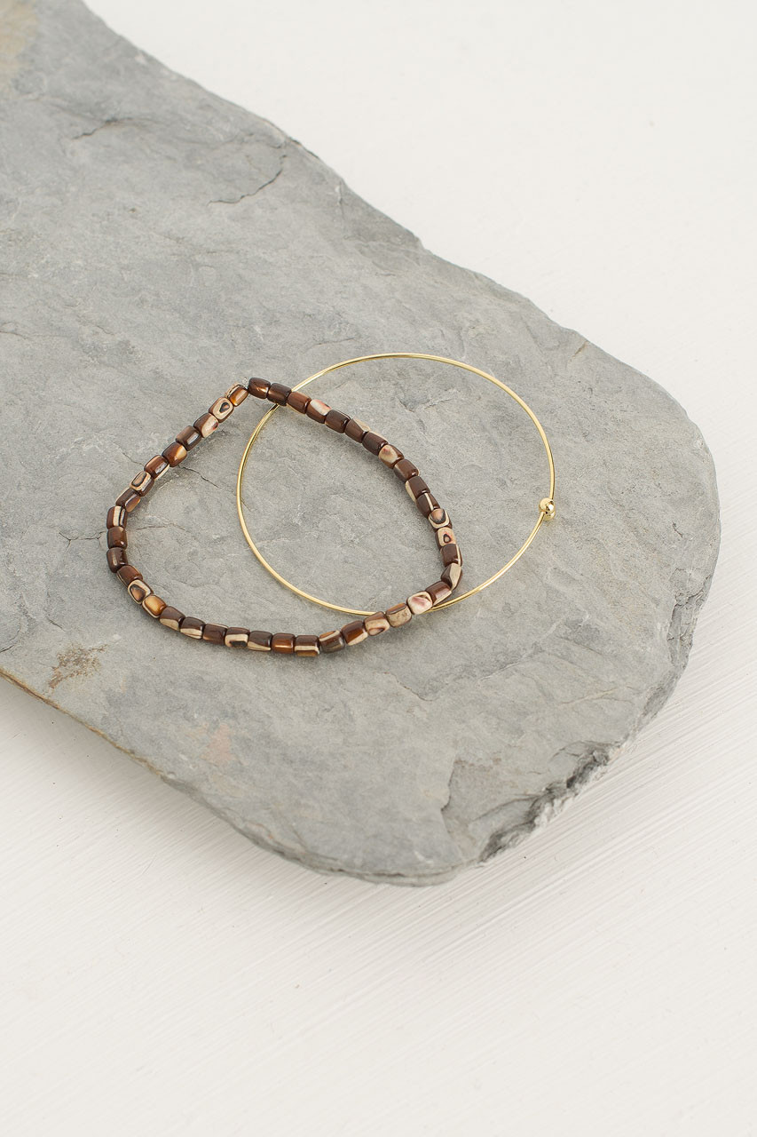 Helen Bracelet Set, Brown/Gold Plated